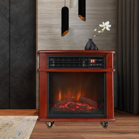 Caesar Fireplace FP404R-QC Infrared Quartz Electric Freestanding Insert Heater Stove Rolling Mantel 1000W-1500W Overheat Safety Feature with (Air Jordan 5 Fire Red Black Tongue 2013)