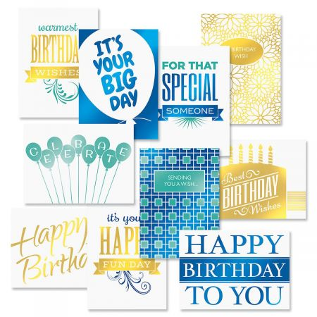 Foil Birthday Cards Value Pack - Set of 20 (2 of each)