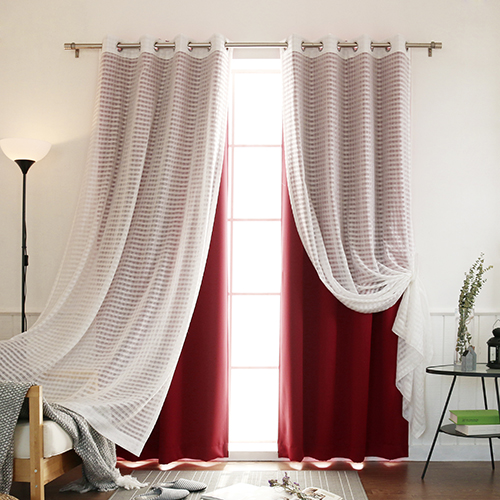 Burgundy Sheer and Solid 84 x 52 In. Blackout Window Treatments, Set of Four