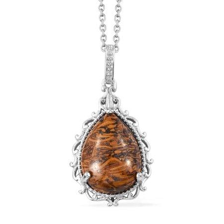 Brown Stone Outdoor Pendant (Mix Metal Pear Script Stone Fashion Chain Pendant Necklace 20