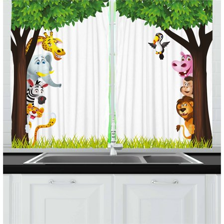 Nursery Curtains 2 Panels Set, Big Trees and Friendly Jungle Safari Animals Wilderness Tropical African Wildlife, Window Drapes for Living Room Bedroom, 55W X 39L Inches, Multicolor, by Ambesonne ()