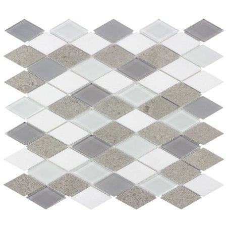 Glass Marble Mosaic (MTO0128 Diamond White Cinderella Gray Glossy Thassos Marble Glass Mosaic)