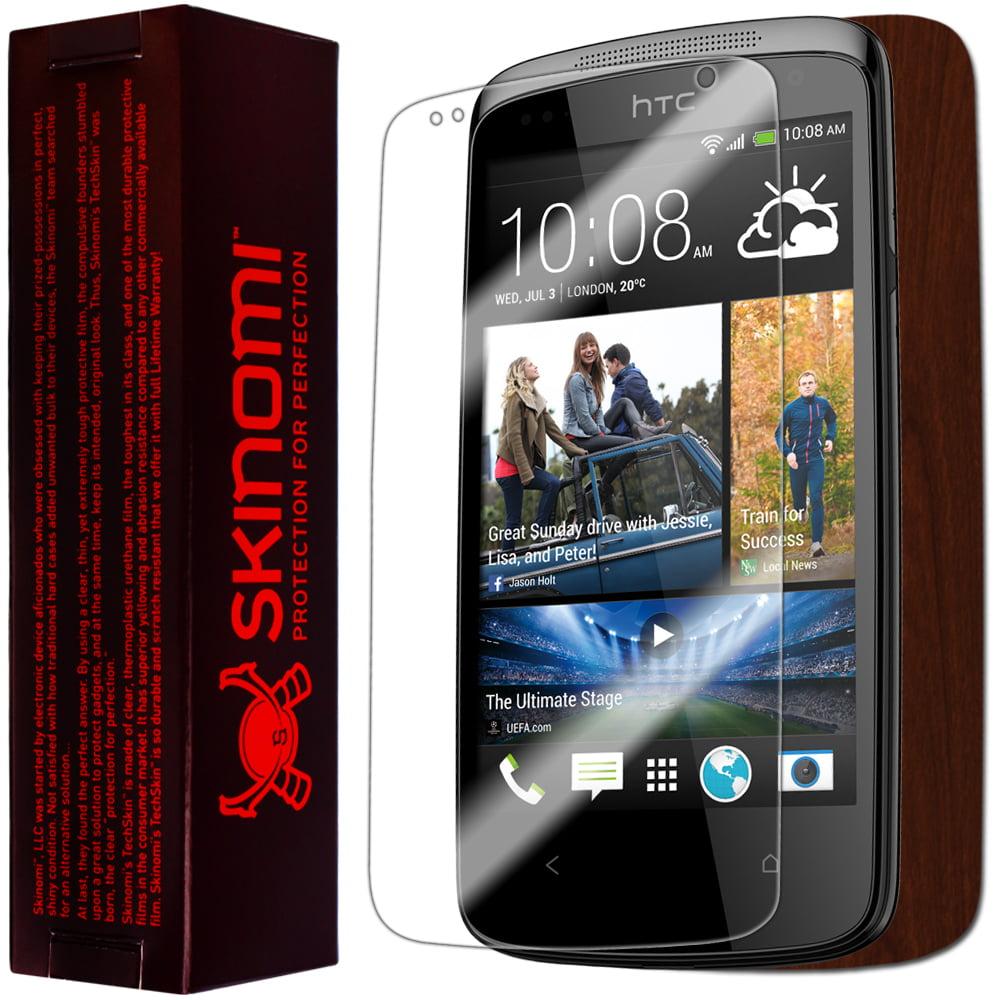 Skinomi Phone Skin Dark Wood Cover+Clear Screen Protector for HTC Desire 500
