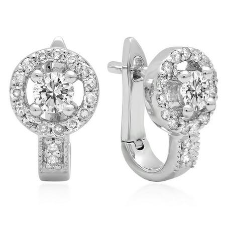 0.50 Carat (ctw) 14K White Gold Round White Diamond Ladies Halo Style Hoop Earrings 1/2 CT