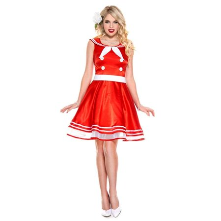 Music Legs 70781-SM 2 Piece Retro 50s Style Full Skirt Dress with Built In Belt & Scarf, Small - 50s Belt