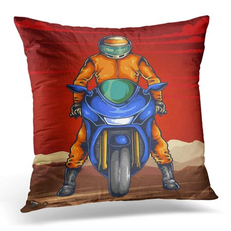 CMFUN Motorbike of Man Ready on The Sport Bike for Race with Scenery and Red Sky in Auto Throw Pillow Case Pillow Cover Sofa Home Decor 16x16 Inches