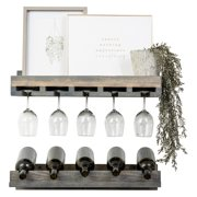 Del Hutson Rustic Stemware and Wine Bottle Rack - Set of 2