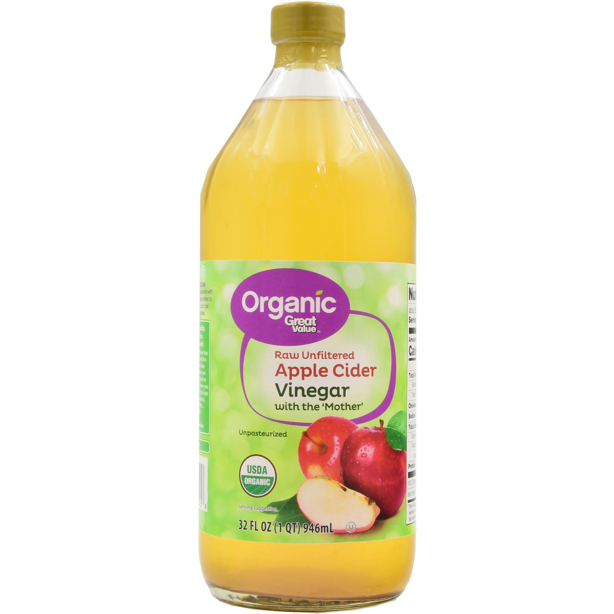 (2 Pack) Great Value Organic Raw Unfiltered Apple Cider Vinegar, 32 fl oz