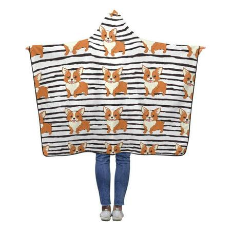 ASHLEIGH Cute Welsh Corgi Dog Hooded Blanket 50x60 inches Kids Girls Boys Toddler Polar Fleece Blankets Throw Wrap