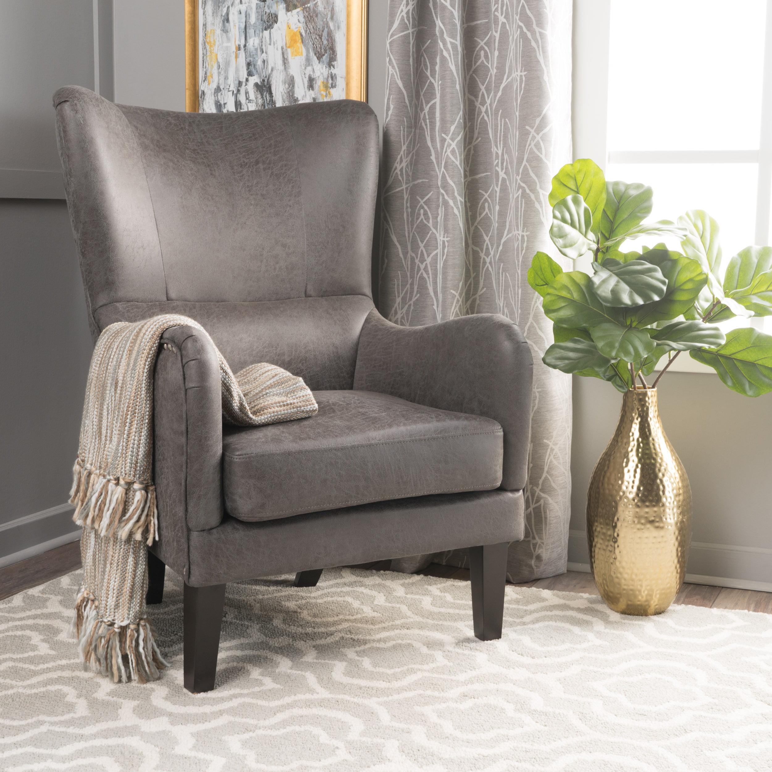 Noble House Westin Slate Fabric Hi-Back Studded Accent Chair