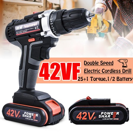 Multi-purpose Cordless Drill Hammer Electric Impact Wrench Electric Screw Driver 2 Speed 25 + 1 Torque LED Light, 42VF