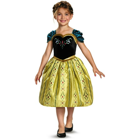 Childs Girls Disney Classic Frozen Anna Coronation Gown Costume - Disney Character Dress Up