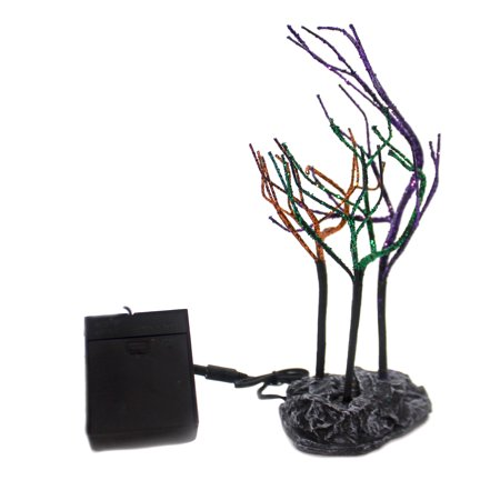 Department 56 Accessory LIT SPOOKY SPARKLE TREES Halloween Village 6001755 - Spooky Tree Halloween Decor