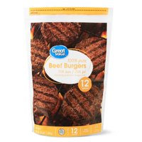 Great Value Beef Burgers, 75% Lean/25% Fat, 12 ct, 3 lb (Frozen)