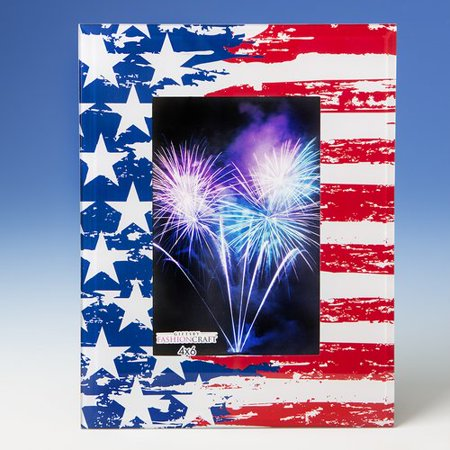 Fashion Craft Patriotic Stars and Stripes Glass Picture Frame