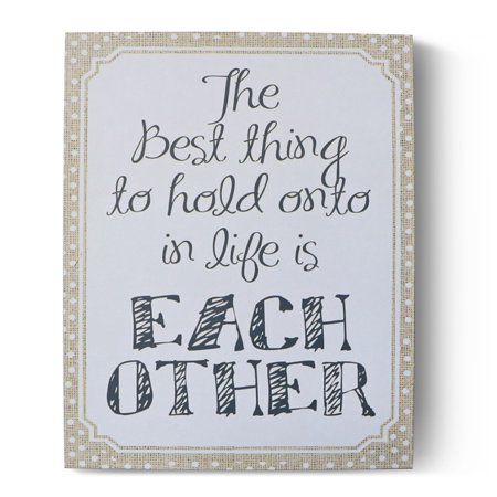 Barnyard Designs The Best Thing To Hold Onto In Life Is Each Other Wooden Box Wall Art Sign, Primitive Country Farmhouse Home Decor Sign With Sayings 10
