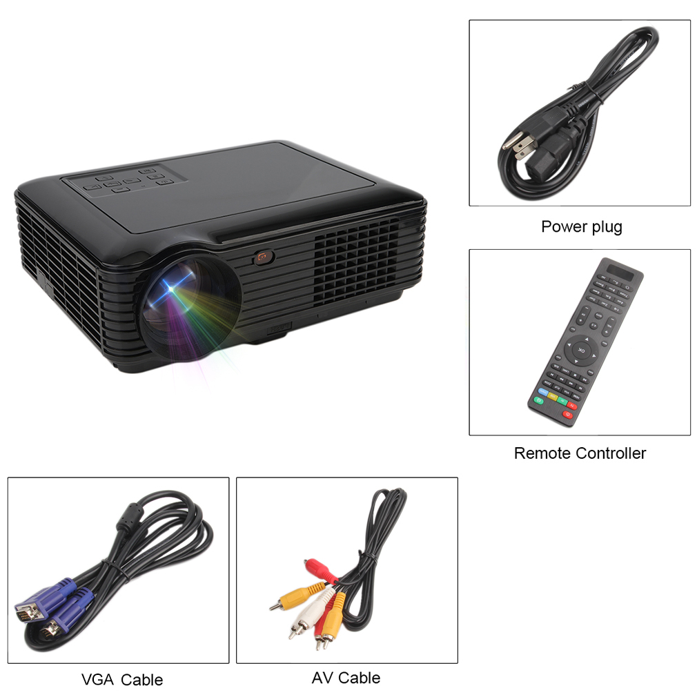 HD 1080P Support Mini LCD Movie Projector Home Theater Projector, Home Cinema Support VGA , HDMI , USB, etc.