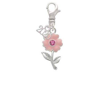 Silvertone Pink Enamel Flower with Pink Crystal - 2020 Clip on Charm Crystal Flower Slide Charm