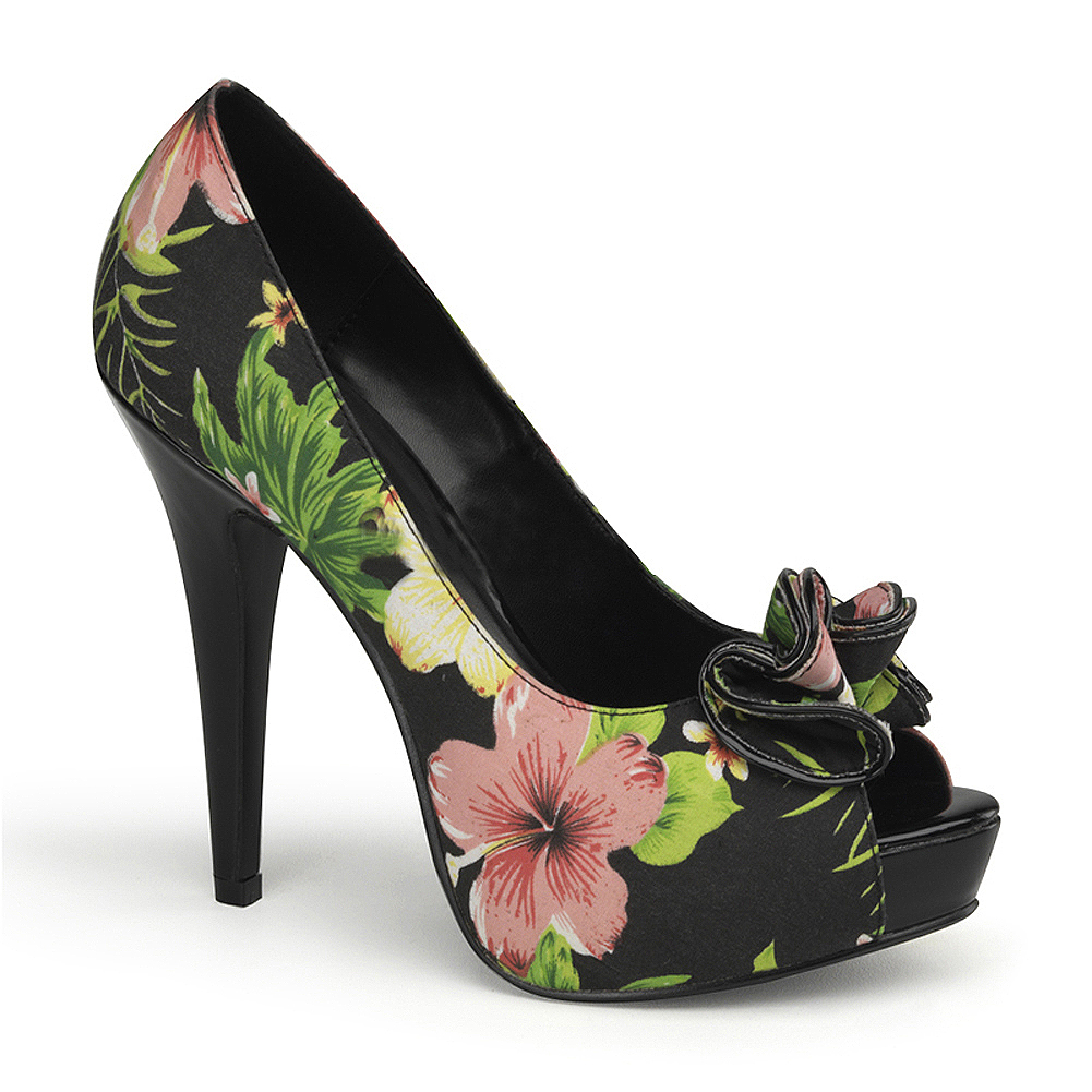 5 1/2 Inch Sexy High Heel Shoes Concealed Platform Black Floral Peep Toe Shoes