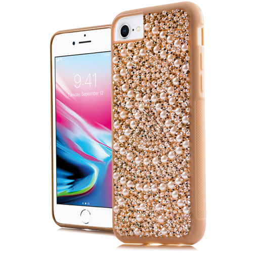 MUNDAZE Rose Gold Luxury Pearls Diamond Case For Apple iPhone 8 / iPhone 7 Phone