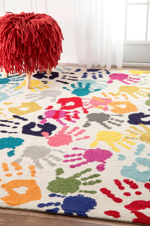 Pinkie Handprint Kids Area Rug