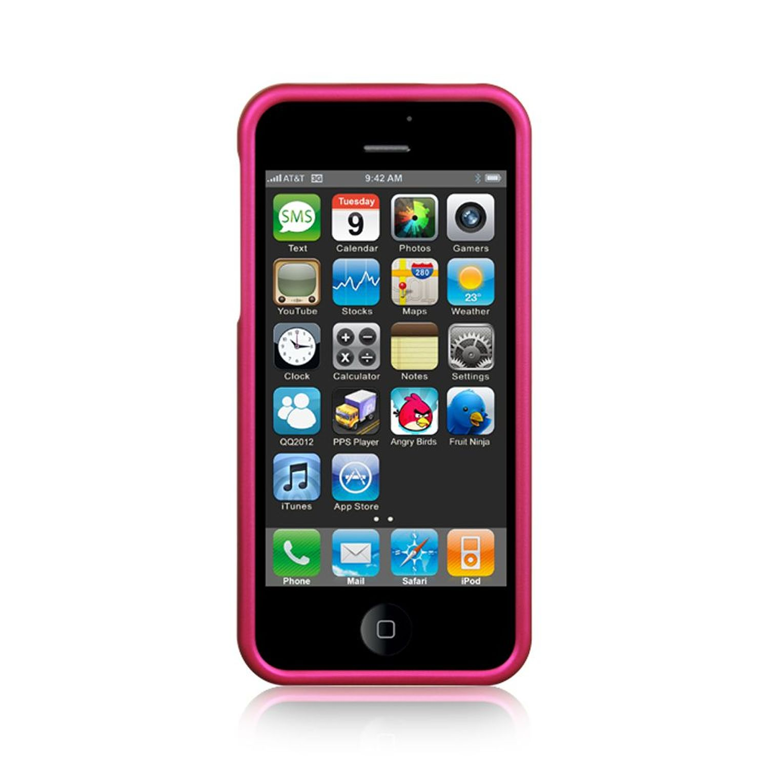 Apple iPhone se case by Insten Hard Rubber Coated Cover Case For Apple iPhone SE / 5 / 5S - Hot Pink
