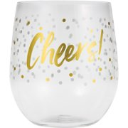 """Cheers"" Printed 14 Oz. Reuseable Plastic Wine Glasses"