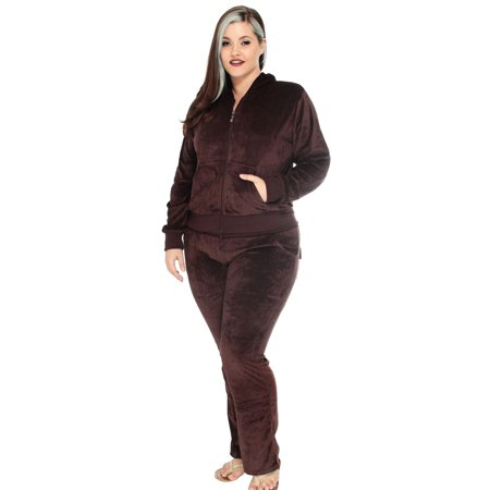 Simplicity Ladies Plus Size Velour Hoodie & Sweatpant Track Suit, Brown, 14W