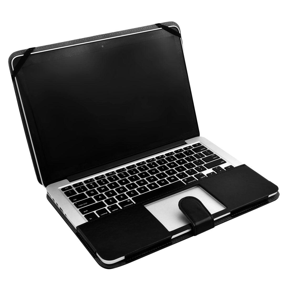 PU Leather PC Laptop Cover Clip On Folio Case Black for Macbook Retina 13.3 Inch