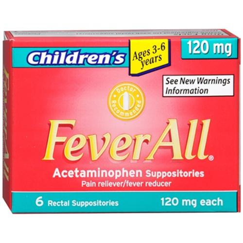 FeverAll Children's 120 mg Rectal Suppositories 6 Each (Pack of 4)