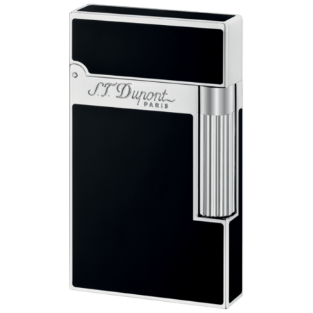 - ST Dupont Ligne 2 Palladium Finish Black Natural Lacquer lighter ST016296