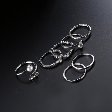 10pcs Jewelry Set Multi Shape 14/17/18/19mm Ring Unique Hand Chain Bracelet for Women Girls's Gift - image 6 of 8