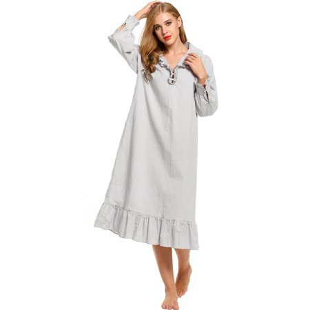 573c3b6cebe Avidlove - Women Long Sleeve Nightwear Solid Turn Down Collar Sleepwear Mid  Calf Nightgown - Walmart.com