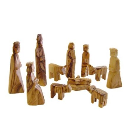 Olive Wood Children's Nativity Set (12 Pieces Set) (3 Inches) - Child Nativity Set