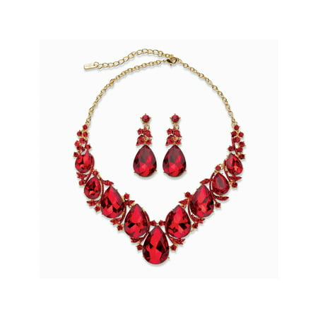 Teardrop Necklace And Earring Set - Teardrop Simulated Red Ruby 2-Piece Earring and Bib Necklace Set in Gold Tone 14