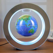 """Happyline"" Magnetic Levitation Floating Globe World Map Circular Frame with Colorful LED for Home Office Desk Decoration 4 inch Blue"