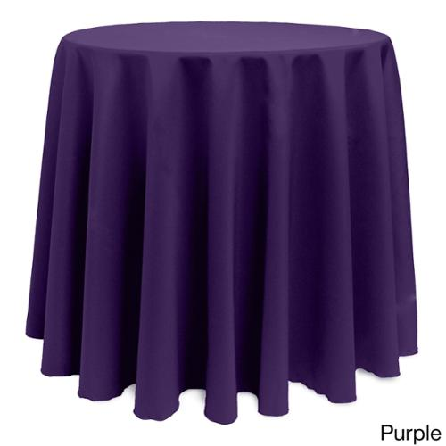 Solid Color 90-inches Round Vibrant Tablecloth PUPRLE