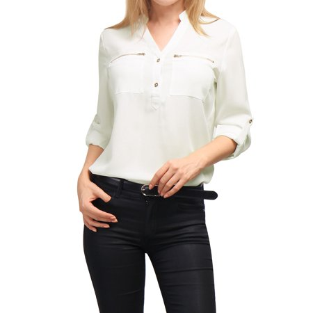 Unique Bargains Women's Stand Collar Roll Up Sleeves Zipped Pocket Chiffon Shirt