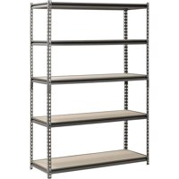 "Muscle Rack 48"" W x 18"" D x 72"" H, 5-Shelf Steel Shelving, Silver-Vein"