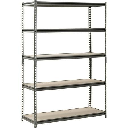 """Muscle Rack 48"""" W X 18"""" D X 72"""" H, 5-shelf Steel Shelving, Silver-vein"""