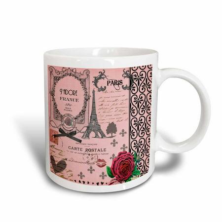 3dRose Stylish Vintage Pink Paris Collage Art - Eiffel Tower - Red Rose - Girly Gothic Black Bow and swirls, Ceramic Mug, 15-ounce