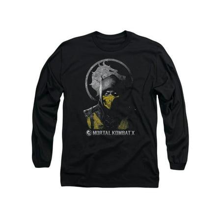 mortal kombat x scorpion bust mens long sleeve shirt (Scorpion Mask Mortal Kombat)