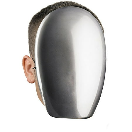 No Face Chrome Mask Adult Halloween - Zipper Face Halloween Mask