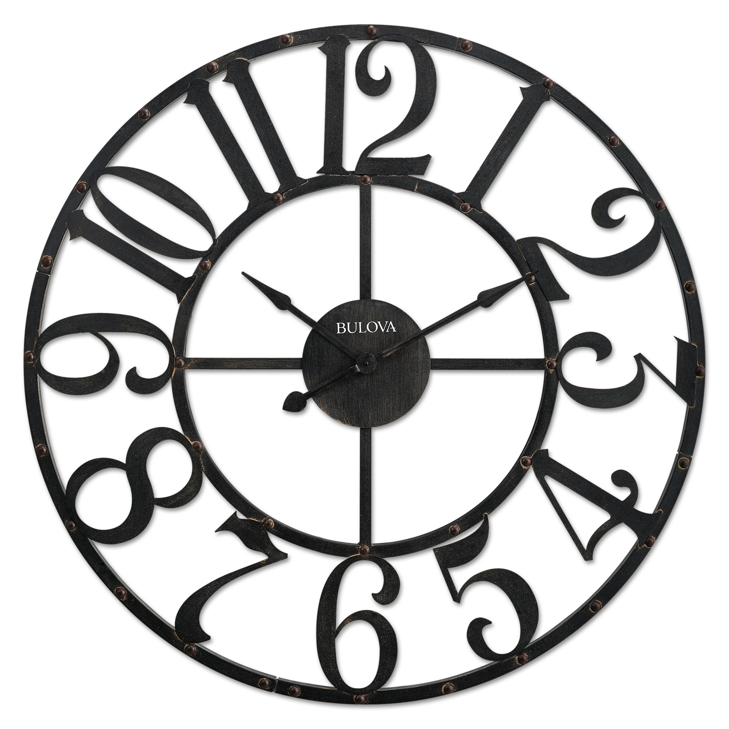 "Bulova Gabriel Wall Clock, 45"" Diameter, Rustic Brown"