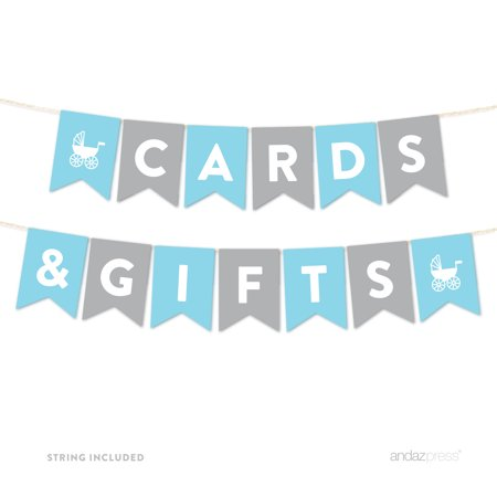 Cards & Gifts Gray Boy Baby Shower Hanging Pennant Garland Party Banner](Welcome Baby Boy Banner)