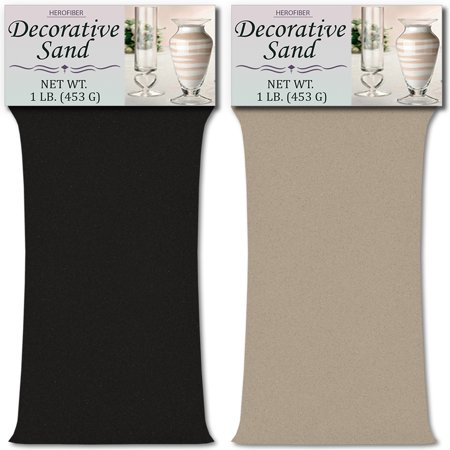 Grey Sand (HeroFiber Colored Unity Sand (2 lbs.) - Black and Grey - 1 lbs. per Color - Decorative Art Sand for Weddings, Vase Filling, Kids' Craft)