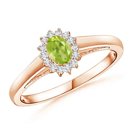 August Birthstone Ring - Princess Diana Inspired Peridot Ring with Diamond Halo in 14K Rose Gold (5x3mm Peridot) - -