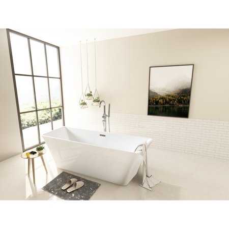 Kingston Brass Modern Square Acrylic Freestanding Bathtub