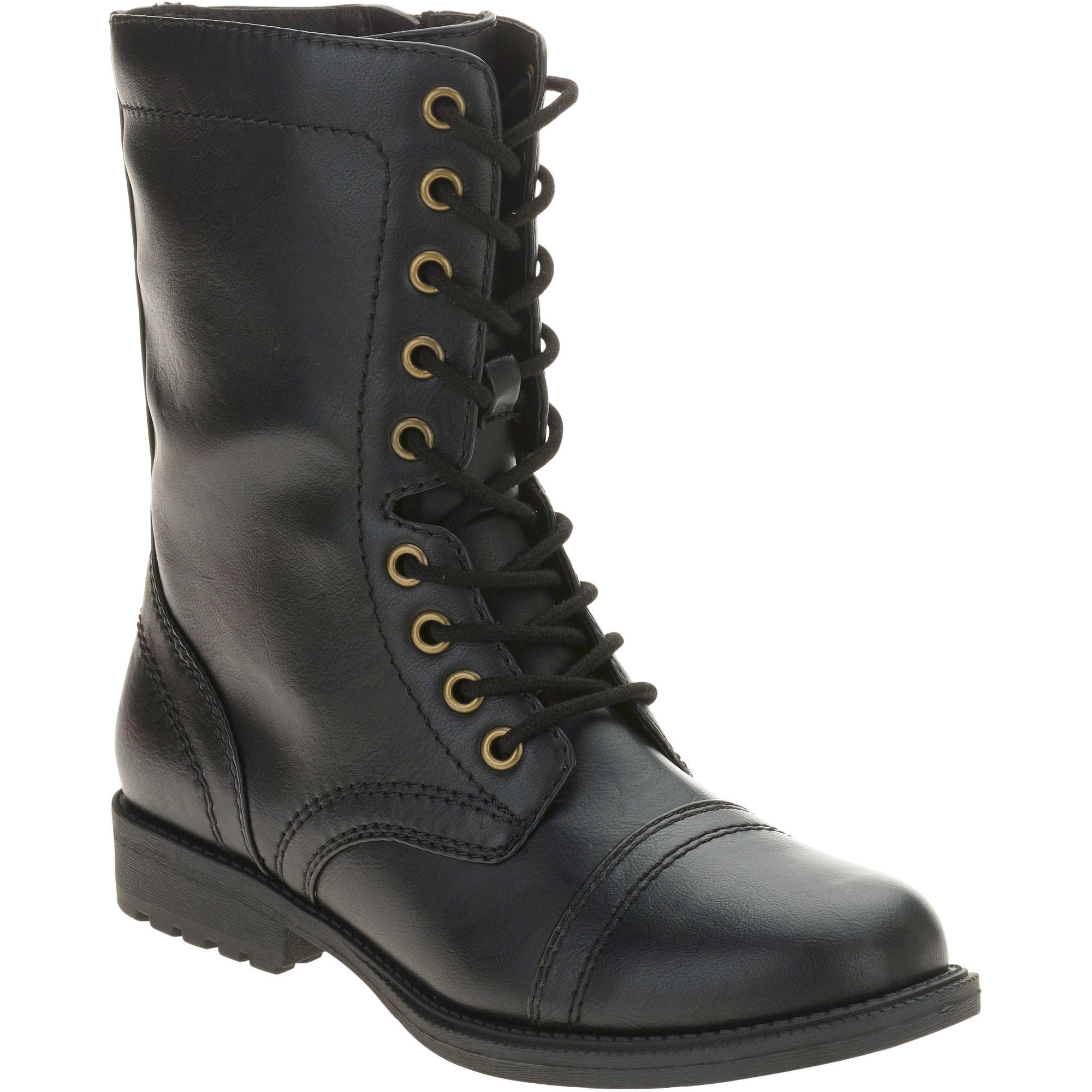 New Womens Combat Style Army Worker Military Ankle Boots Flat Punk Goth Shoes Size | EBay