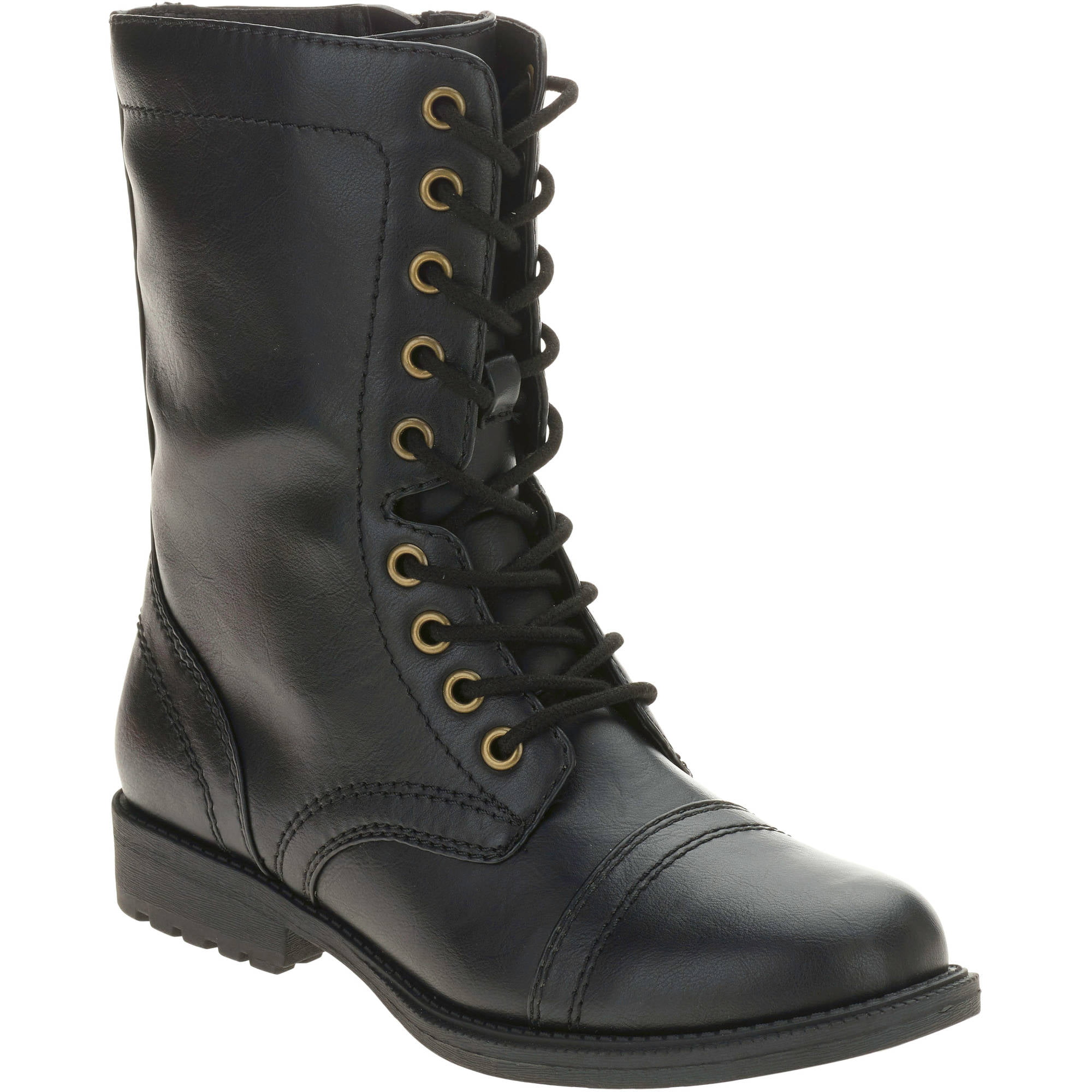 Amazing Combat Boots Womens 9 Black Leather Military Grunge By Moivintage
